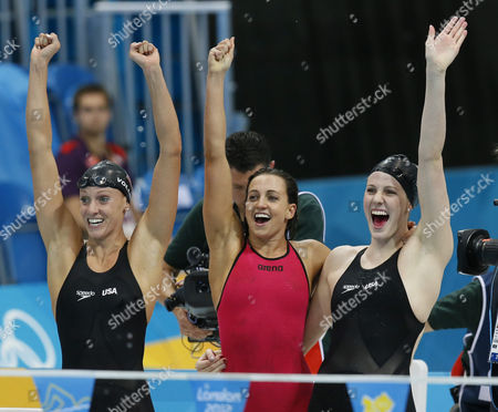 (l-r) Us Swimmers Dana Vollmer Rebecca Soni and Missy Franklin Celebrate As Allison Schmitt Finishes the Final Leg to Win the Gold Medal in the Women's 4x100m Medley Relay During the London 2012 Olympic Games Swimming Competition London Britain 04 August 2012 United Kingdom London
