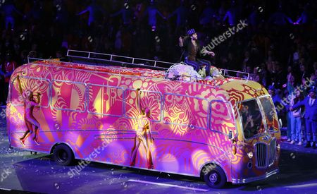 British Performer Russel Brand During the Closing Ceremony of the London 2012 Olympic Games London Britain 12 August 2012 United Kingdom London