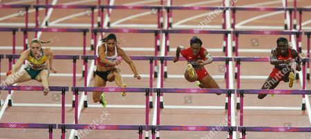 (from Left) Sally Pearson of Australia Turkey's Nevin Yanit Us Kellie Wells and Us Dawn Harper Clear the Hurdles During the 100m Hurdles Final at the London 2012 Olympic Games Athletics Track and Field Events at the Olympic Stadium London Britain 07 August 2012 Pearson Won Harper Placed Second Wells Third United Kingdom London
