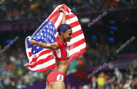 Kellie Wells of the Us Celebrates Placing Third in the 100m Hurdles Final at the London 2012 Olympic Games Athletics Track and Field Events at the Olympic Stadium London Britain 07 August 2012 United Kingdom London