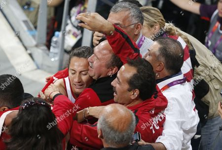 Asli Cakir Alptekin of Turkey Celebrates with Supporters Winning the Women's 1500m Final at the London 2012 Olympic Games Athletics Track and Field Events at the Olympic Stadium London Britain 10 August 2012 United Kingdom London