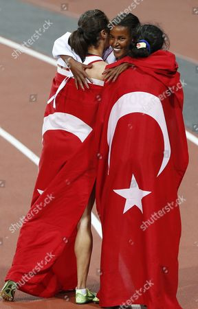 Third Placed Maryam Yusuf Jamal (c) of Bahrain Celebrates with Winner Asli Cakir Alptekin (l) and Second Gamze Bulut Both of Turkey After the Women's 1500m Final at the London 2012 Olympic Games Athletics Track and Field Events at the Olympic Stadium London Britain 10 August 2012 United Kingdom London