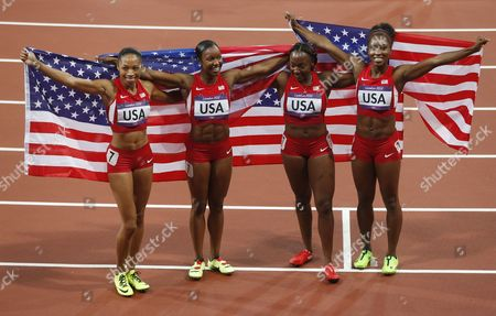 (from Left) Allyson Felix Carmelita Jeter Bianca Knight and Tianna Madison of the Us Celebrate After Winning the Women's 4x100m Relay at the London 2012 Olympic Games Athletics Track and Field Events at the Olympic Stadium London Britain 10 August 2012 United Kingdom London