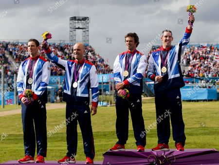 (l-r) Silver Medalists David Florence and Richard Hounslow of Great Britain; Gold Medalists Tim Baillie and Etienne Stott of Great Britain During the Medal Ceremony For Men's Canoe Double (c2) at the London 2012 Olympic Games Canoe Slalom Competition at the Lee Valley White Water Centre Waltham Cross North of London Britain 02 August 2012 United Kingdom Waltham Cross