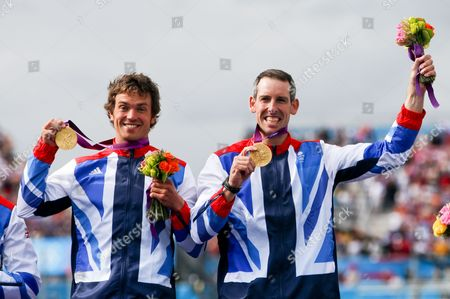(l-r) Ggold Medalists Tim Baillie and Etienne Stott of Great Britain During the Medal Ceremony For Men's Canoe Double (c2) at the London 2012 Olympic Games Canoe Slalom Competition at the Lee Valley White Water Centre Waltham Cross North of London Britain 02 August 2012 United Kingdom Waltham Cross