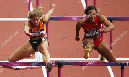 Dutch Dafne Schippers (l) and Chantae Mcmillan of the Us in Action in the 100m Hurdles of the Heptathlon Event During the London 2012 Olympic Games Athletics Track and Field Events at the Olympic Stadium London Britain 03 August 2012 United Kingdom London