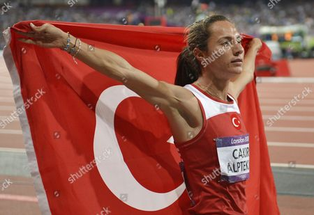 Asli Cakir Alptekin of Turkey Celebrates Winning the Women's 1500m Final at the London 2012 Olympic Games Athletics Track and Field Events at the Olympic Stadium London Britain 10 August 2012 United Kingdom London