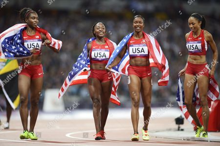 (from Left) Tianna Madison Bianca Knight Carmelita Jeter and Allyson Felix of the Us Celebrate After Winning the Women's 4x100m Relay at the Olympic Stadium London Britain 10 August 2012 United Kingdom London