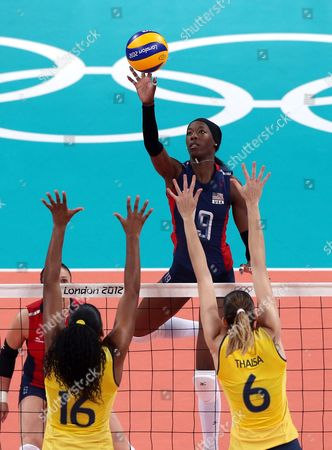 Destinee Hooker (usa) in Action During the Women's Volleyball Gold Medal Match Between Brazil and Usa at the London 2012 Olympic Games Volleyball Competition London Britain 11 August 2012 United Kingdom London