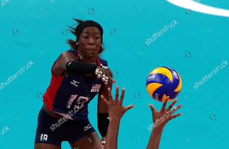 Destinee Hooker of the Usa Returns to Brazil During the Women's Volleyball Gold Medal Match at the London 2012 Olympic Games Volleyball Competition London Britain 11 August 2012 United Kingdom London