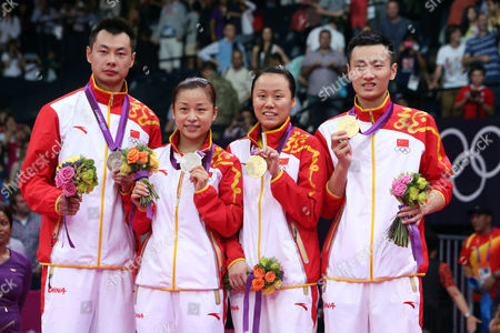 (l-r) Silver Medalists Chen Xu and Jin Ma and Gold Medalists Yunlei Zhao and Nan Zhang All of China Celebrate After the Badminton Mixed Doubles Final During the London 2012 Olympic Games London Britain 03 August 2012 United Kingdom London