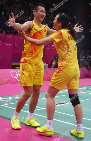 Gold Medalists Nan Zhang (l) and Yunlei Zhao of China Celebrate As They Win Gold in the Badminton Mixed Doubles Final During the London 2012 Olympic Games London Britain 03 August 2012 United Kingdom London