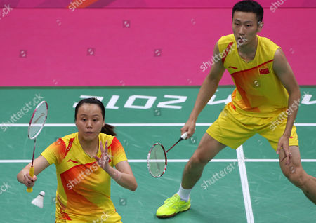 Gold Medalists Nan Zhang (r) and Yunlei Zhao of China Compete in the Badminton Mixed Doubles Final During the London 2012 Olympic Games London Britain 03 August 2012 United Kingdom London