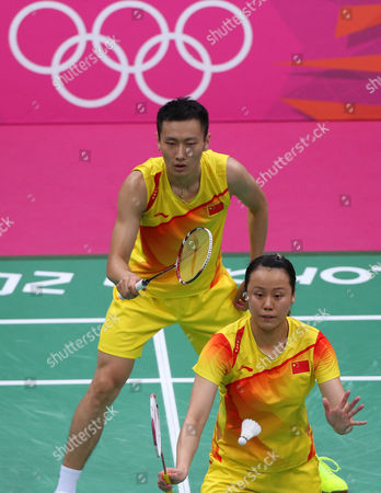 Gold Medalists Nan Zhang (l) and Yunlei Zhao of China Compete in the Badminton Mixed Doubles Final During the London 2012 Olympic Games London Britain 03 August 2012 United Kingdom London