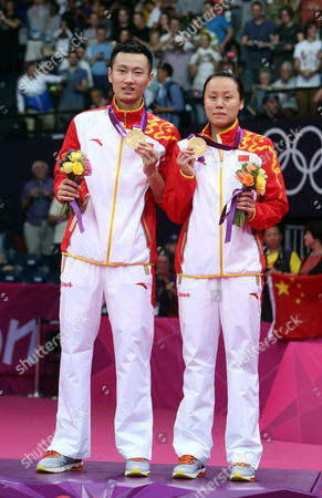 Gold Medalists Yunlei Zhao (r) and Nan Zhang of China Celebrate After the Badminton Mixed Doubles Final During the London 2012 Olympic Games London Britain 03 August 2012 United Kingdom London