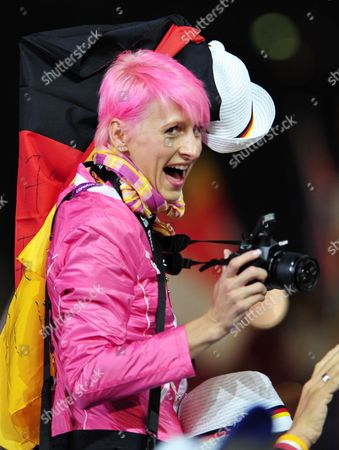 German High Jumper Ariane Friedrich Celebrates During the Closing Ceremony of the London 2012 Olympic Games London Britain 12 August 2012 United Kingdom London