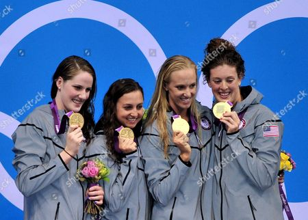 (l-r) Us Swimmers Missy Franklin Rebecca Soni Dana Vollmer and Allison Schmitt During the Medal Ceremony After Winning the Gold Medal in the Women's 4x100m Medley Relay During the London 2012 Olympic Games Swimming Competition London Britain 04 August 2012 United Kingdom London