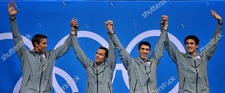 Usa (l-r: Matthew Grevers Brendan Hansen Michael Phelps Nathan Adrian) Team Pose During the Medal Ceremony of the Men's 4 X 100m Medley Relay at the London 2012 Olympic Games Swimming Competition London Britain 04 August 2012 United Kingdom London