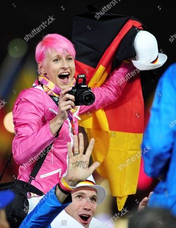Stock Picture of German High Jumper Ariane Friedrich Takes a Picture During the Closing Ceremony of the London 2012 Olympic Games London Britain 12 August 2012 United Kingdom London