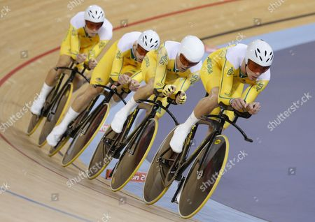 Australia's Men Team Pursuit Team Including Jack Bobridge Glenn O'shea Rohan Dennis and Michael Hepburn Cycle For Second Place in Men's Team Pursuit at the London 2012 Olympic Games Track Cycling Competition London Britain 03 August 2012 United Kingdom London