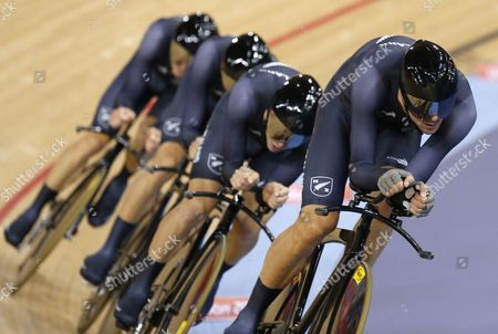 New Zealand's Men Team Pursuit Team Including Sam Bewley Westley Gough Marc Ryan and Jesse Sergent Cycle to Place Third in the Men's Team Pursuit Final at the London 2012 Olympic Games Track Cycling Competition London Britain 03 August 2012 United Kingdom London
