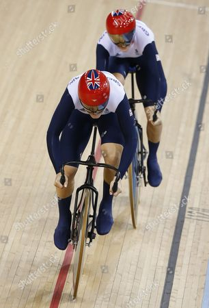 Victoria Pendleton and Jessica Varnish of Britain Compete in the Women's Team Sprint Qualification During the London 2012 Olympic Games Track Cycling Competition London Britain 02 August 2012 United Kingdom London