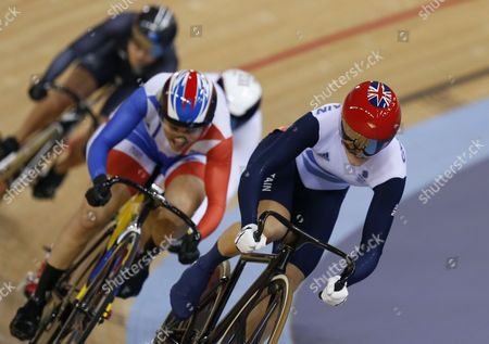 Victoria Pendleton of Britain Cycles Ahead of Clara Sanchez of France to Win Her Second Round Heat in Women's Keirin Event For the London 2012 Olympic Games Track Cycling Competition London Britain 03 August 2012 United Kingdom London