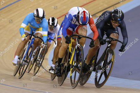 Clara Sanchez of France (c) Cycles to Win Her Repechage Heat in Women's Keirin Event For the London 2012 Olympic Games Track Cycling Competition London Britain United Kingdom London