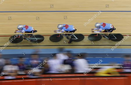Canada's Women's Pursuit Team Including Tara Whitten Gillian Carleton and Jasmin Glaesser During the First Round of the Women's Team Pursuit at the London 2012 Olympic Games Track Cycling Competition London Britain 04 August 2012 United Kingdom London