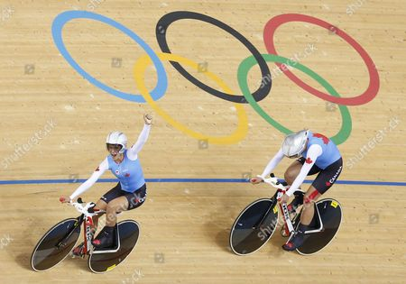 Tara Whitten and Gillian Carleton of Canada's Women's Pursuit Team Celebrate Their Third Place in the Women's Team Pursuit Final the London 2012 Olympic Games Track Cycling Competition London Britain 04 August 2012 United Kingdom London