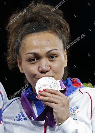 Anne-caroline Graffe of France on the Winner's Podium with Her Silver Medal From the Women +67kg Gold Medal Final Taekwondo at the Excel Centre in the London 2012 Olympic Games 11 August 2012 United Kingdom London