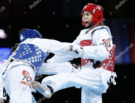 Milica Mandic of Serbia (red) Battles Anne-caroline Graffe of France (blue) in the Women's +67kg Gold Medal Final Taekwondo at the Excel Centre in the London 2012 Olympic Games 11 August 2012 United Kingdom London