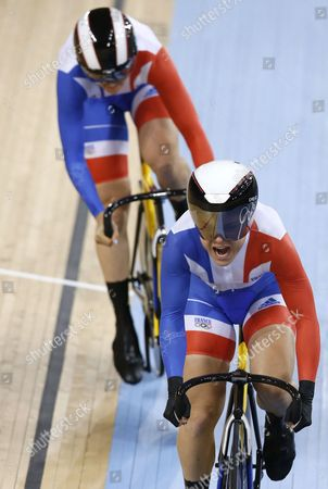 Sandie Clair and Virginie Cueff of France Compete in the Women's Team Sprint Qualification During the London 2012 Olympic Games Track Cycling Competition London Britain 02 August 2012 United Kingdom London