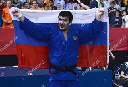 Tagir Khaibulaev of Russia Celebrates Winning the Gold Medal in the Men's -100kg Judo Final During the London 2012 Olympic Games London Britain 02 August 2012 United Kingdom London