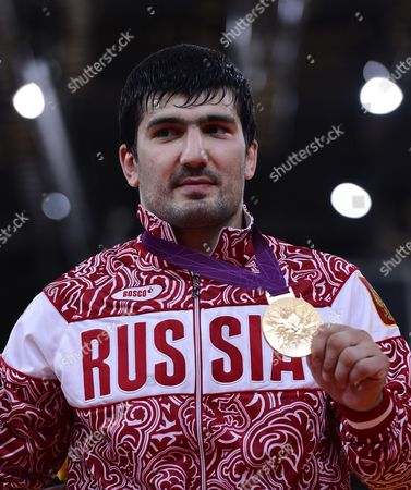Tagir Khaibulaev of Russia Celebrates His Gold Medal After Winning the Men's -100kg Judo Final During the London 2012 Olympic Games London Britain 02 August 2012 United Kingdom London