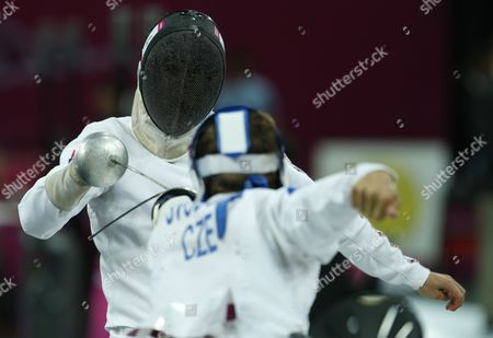 Stock Photo of Great Britain's Nicholas Woodbridge (l) Competes Against Czech Republic's David Svoboda (r) During the Fencing Matches of the London 2012 Olympic Games Modern Pentathlon Competition London Britain 11 August 2012 United Kingdom London