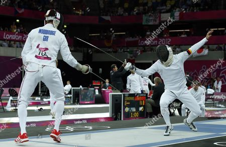 Stock Picture of Germany's Steffen Gebhardt (r) Competes Against Britain's Nicholas Woodbridge (l) During the Fencing Matches of the London 2012 Olympic Games Modern Pentathlon Competition London Britain 11 August 2012 United Kingdom London