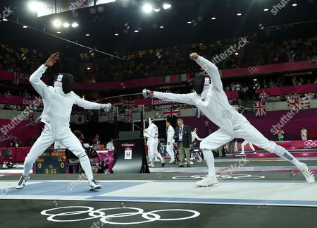 Stock Image of Egypt's Yasser Hefny (l) Competes Against Britain's Nicholas Woodbridge During the Fencing Matches of the London 2012 Olympic Games Modern Pentathlon Competition London Britain 11 August 2012 United Kingdom London