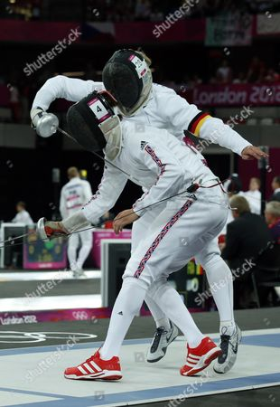 Germany's Steffen Gebhardt (r) Competes Against Britain's Nicholas Woodbridge (l) During the Fencing Matches of the London 2012 Olympic Games Modern Pentathlon Competition London Britain 11 August 2012 United Kingdom London