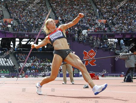 Lilli Schwarzkopf of Germany Competes in the Javelin of the Heptathlon Event During the London 2012 Olympic Games Athletics Track and Field Events at the Olympic Stadium London Britain 04 August 2012 United Kingdom London
