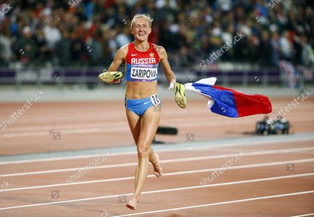 Yuliya Zaripova of Russia Celebrates Winning the Women's 3000m Steeplechase Final at the London 2012 Olympic Games Athletics Track and Field Events at the Olympic Stadium London Britain 06 August 2012 United Kingdom London