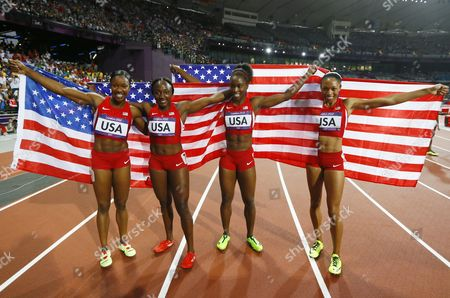 (from Left) Carmelita Jeter Bianca Knight Tianna Madison and Allyson Felix of the Us Celebrate After Winning the Women's 4x100m Relay at the Olympic Stadium London Britain 10 August 2012 United Kingdom London