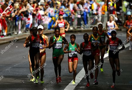 Tiki Gelana (4th L) of Ethiopia Competes During the Women's Marathon in the London 2012 Olympic Games Marathon Competition London Britain 05 August 2012 United Kingdom London