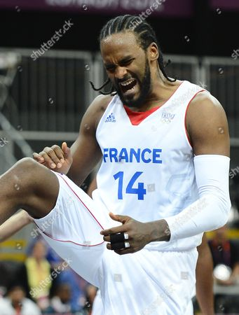 France Player Ronny Turiaf Reacts After a Basket During the Preliminary Round Match Between France and Lithuania in the London 2012 Olympic Games Basketball Competition London Britain 02 August 2012 United Kingdom London