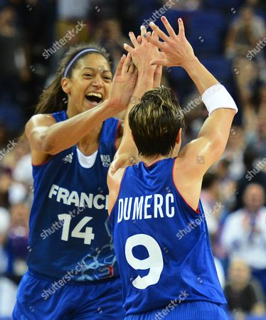 France Player Celine Dumerc (l) Along with Emmeline Ndongue (c) Reacts After Winning Against Russia in Their Semifinals Game at the London 2012 Olympic Games in London Great Britain 09 August 2012 United Kingdom London