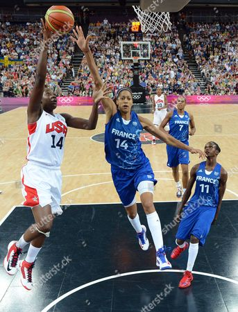 Usa's Tina Charles (l) Shoots Over France's Emmeline Ndongue (r) During the First Half of Their Gold Medal Game at the London 2012 Olympic Games Basketball Competition London Britain 11 August 2012 United Kingdom London