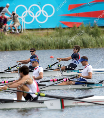Great Britain's Mark Hunter (top L) and Zac Purchase (top R) After Crossing the Finish Line in the Lightweight Men's Double Sculls Semifinal During the London 2012 Olympic Games Rowing Competition at the Eton Dorney Rowing Centre Near the Village of Dorney West of London Britain 02 August 2012 United Kingdom Dorney