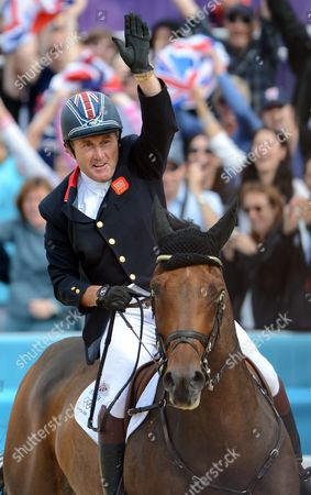 Team Great Britain's Peter Charles Celebrates After His Clear Round During Equestrian Team Jumping Event at the London 2012 Olympic Games Equestrian Jumping Competition in Greenwich Park South East London Britain 06 August 2012 United Kingdom London