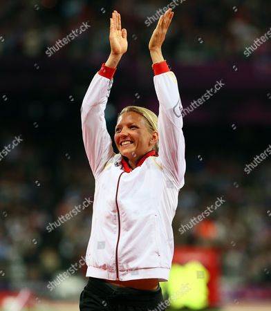 Lilli Schwarzkopf of Germany Celebrates Winning Silver in the Heptathlon During the London 2012 Olympic Games Athletics Track and Field Events at the Olympic Stadium London Britain 04 August 2012 United Kingdom London