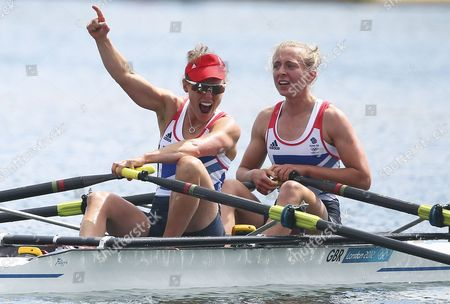 Great Britain's Katherine Copeland (r) and Sophie Hosking Celebrate After Winning the Gold Medal in the Lightweight Women's Double Sculls During the London 2012 Olympic Games Rowing Competition at the Eton Dorney Rowing Centre Near the Village of Dorney West of London Britain 04 August 2012 United Kingdom Dorney